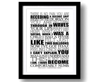 Song Lyrics A3 Pink Floyd - Comfortably Numb Lyric Print ( Print Only ) Typography song music lyrics for framing