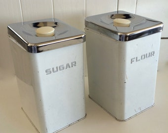 Vintage Sugar & Flour Canisters Beautyware Kitchen Set Two Matching Retro Metal Kitchen Counter Containers Kitchen Storage Sugar Flour Boxes