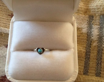 NAVAJO Made INFANTS Ring HEART Sterling Turquoise  Vintage Unworn