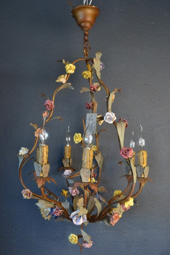 Stunning Italian tole chandelier with colourful porcelain flowers.
