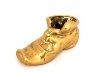 Vintage Solid Brass Boot Match Stick Holder, Minature Boot, Brass Boot Ashtray, Brass Boot Match Holder, Old Brass Boot, Brass Paper Weight