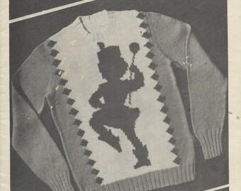 1949 Knitting Pattern - Knit O Graf Vintage Sweater Graph Pattern - MAJORETTE BATON TWIRLING - Sizes 6, 8, 10, 12 - Crew Neck Pullover