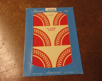 Vintage Meyercord Corner Lattice Red Decals