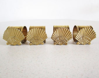 Sea Shell Napkin Rings Vintage Mid Century Made in India Brass Beach House