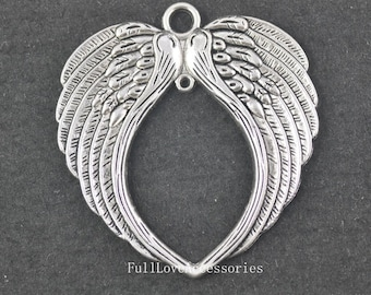 2pcs Angel Wings Charms, 68x73mm Large Antique Silver Angel Wings Charms Pendant