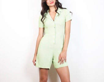 Vintage 1990s Romper Lime Green White Gingham Plaid Playsuit 90s Clueless Shortalls One Piece Jumper Soft Grunge Shorts XS Extra Small S