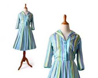 Shirtdress, 1950s Dress, 50s Dress, 1950s Costume, Blue Dress, Dress, Vintage Dress, Striped Dress, Vintage Clothing, Womens Dress