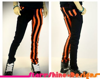 BJD MSD 1/4 Doll Clothing - Orange Vertical Stripe Skinny Pants