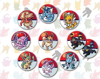 eeveelution pokemon buttons 38mm