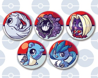 First Generation Ice pokémon 38mm buttons