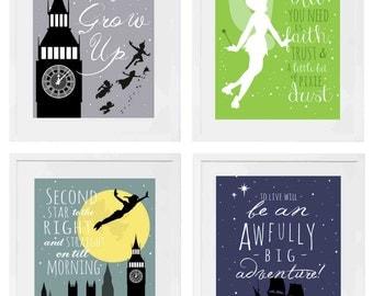 Peter Pan Set of Four, Digital Art Printables