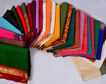 Wholesale Lot 6 Pc Vintage Indian Handwoven Pure Cotton Zari Fabric Saree Sari TPHWC6