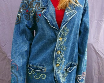 Tree Of Life Women's Blue Jean Jacket Upcycled Wearable Art Hand Stitched Embroidered Medium Size Vivaldi Jeanswear
