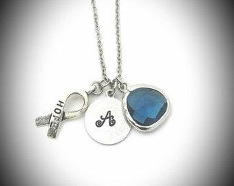 Colon cancer awareness,Colon cancer  awareness necklace,Colon cancer,Colorectal cancer awareness,Dark blue ribbon hope,March awareness month