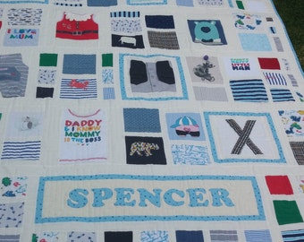 """BABY CLOTHES Quilt Heirloom Memory Quilt Custom Order 60"""" x 72"""" - Using Your Baby Clothes - DEPOSIT"""