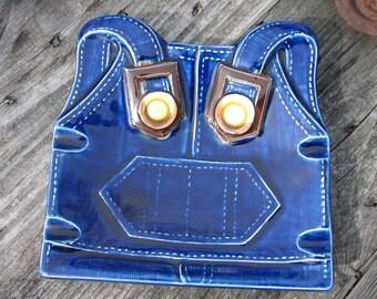 bib overalls ashtray vintage blue jeans denim ceramic japan tobacciana