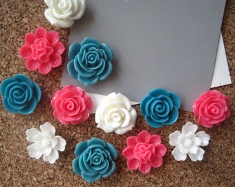 Flower Thumbtacks / Push Pins 12 pcs Dark Teal, Pink and White Thumbtacks, Bulletin Board Tacks, Housewarming Gifts, Wedding Favors