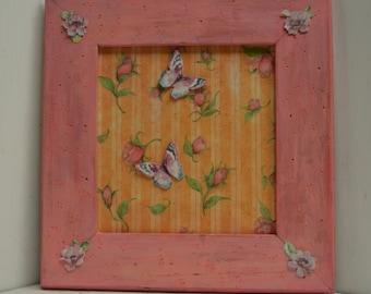 Rose Bud and Stripes Frame