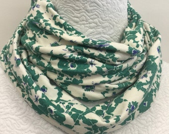 Made to Order Liberty of London Jersey Scarf in Green Floral design