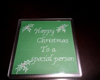Beautiful handmade parchment craft coasters,personalised, Christmas, holly, gift,