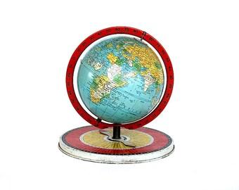 Vintage Globe Game - Replogle 6 Inch Simplified Globe - Spinner Globe - Vintage Metal Toy Globe Decor Geography Game - Gustav Brueckmann