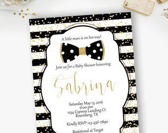 Little Man Bow Tie Gold and Black Baby Shower Invitation, Black and Gold Baby Shower, Bow Tie Invitation - YOU PRINT