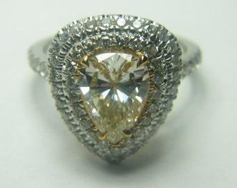 14kt white gold yellow pear shape diamond halo engagement ring