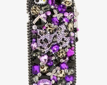 iphone SE 6s 6 Plus 5S / Samsung Galaxy Note Edge E7 S7 S6 S5 / Handcrafted Case Cover 3D Bling Crystal Diamond Purple Leopard Bow Black_824