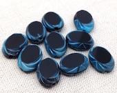 10 Vintage Black Blue German Window Oval Glass Beads 11mm