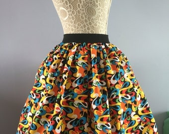 Ladies or girls Seussical Dr Seuss swirls full skater style skirt
