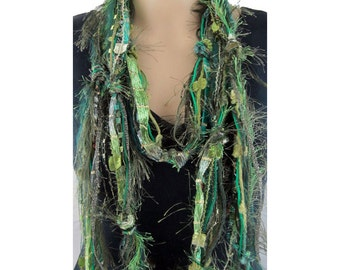 Green Scarf, Skinny Scarf, Boho Chic, Long Scarf, Ladies Scarves, Fringe Scarf, Bohemian Scarf, Boho Scarves, Scarves for Women, Neck Scarf