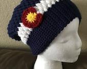 Crochet Puff Stitch Colorado Slouch Beanie- Baby, Child, Teen, Adult sizes, Colorado hat, Colorado flag hat, Colorado Hat, Ski, Skiing, Snow