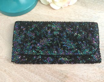 Black beaded vintage evening clutch with AB sequins