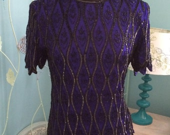 Stenay cobalt blue and black sequin top