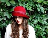 On sale Women red felt hat / Millinery- handmade hand draped red felt cloche hat wide brim