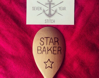 """Hand Pyrographed """"Star Baker"""" Spoon"""