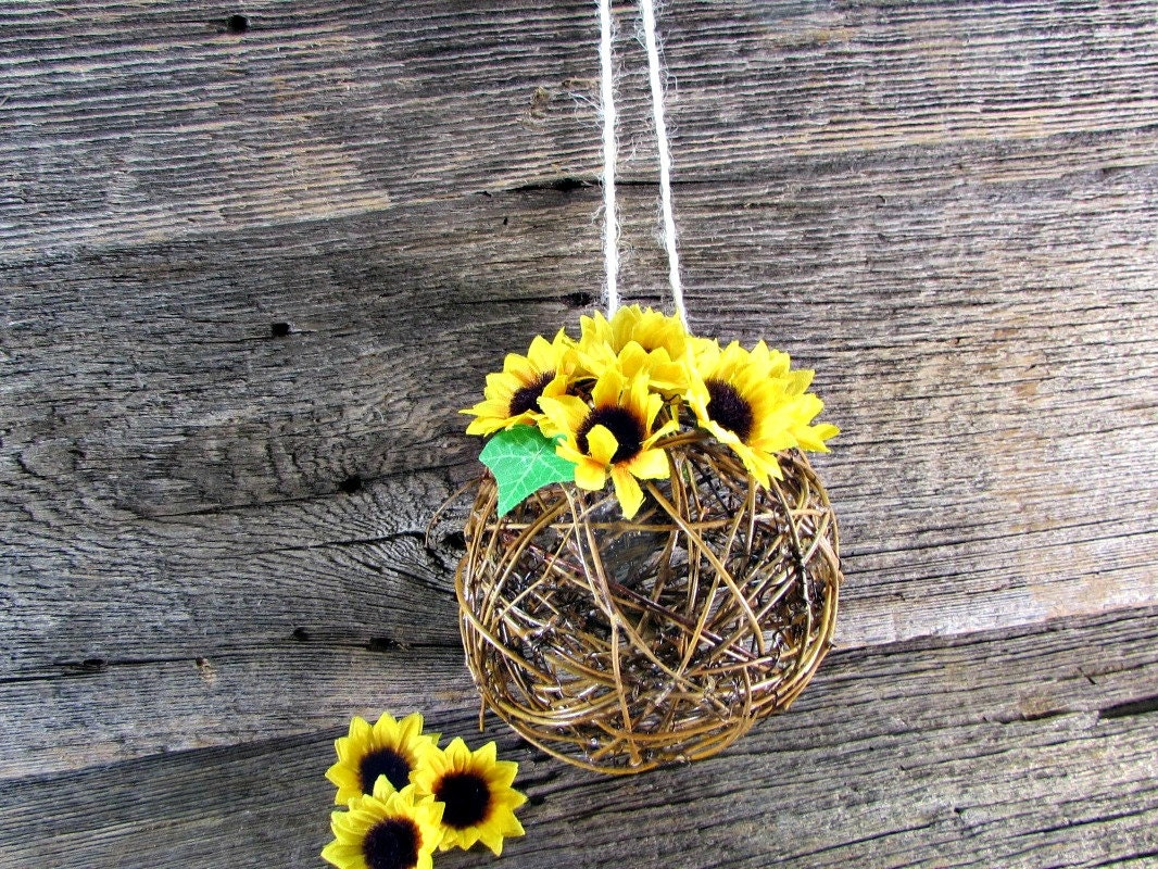 Sunflower kissing ball centerpiece flower girl by