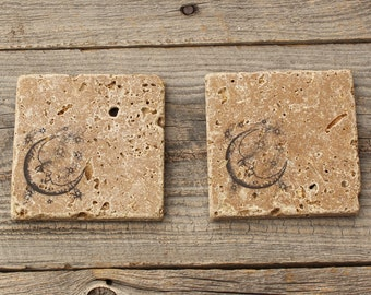 Rustic Stone Coaster, Moon and Stars, Travertine Tile coaster, Tumbled stone tile, Crescent moon