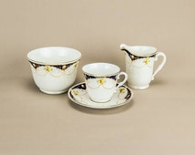 5 Person Neo-classical Saucer Creamer Floral TEA SET Cup English Bowl Early 1900s LS