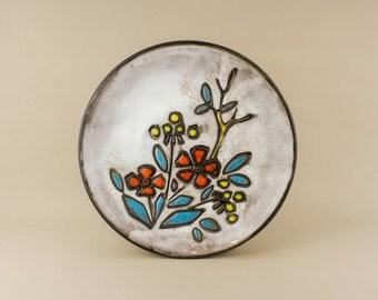 Rustic Large Floral Decorative BOWL Retro Table Modernist Pottery Grey Pasta Vintage Rice Salad German Circa 1970 Gift