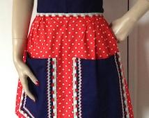 Vintage Retro Navy & Red Polka Dot Crepe Half Apron Pinny Over Skirt 1950s Diner Cafe Waitress Housewife Kitsch Kitchenalia