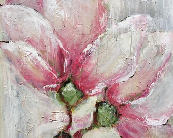"Original painting - vintage magnolia 30""x40"" with acrylic paint and brush spring magnolia, floral, pink, gray, floral,"