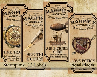 Steampunk apothecary labels for jars bottles tags and scrapbook embellishment vintage potion magic spell jpg