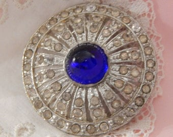 White Metal Button with Clear Paste Stones and a Center Cone Shaped Blue Glass