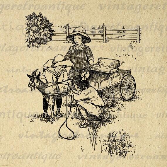 Printable Image Children with Goat Download Antique Digital Graphic Vintage Clip Art Jpg Png Eps  HQ 300dpi No.270