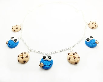 cookie monster charm necklace