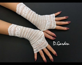Lolita Stretchy White Lace Elegant Victorian Sexy Fingerless Gloves / Arm Warmers