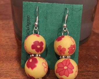 Red Flowers on Yellow Double Clay Bead Earrings