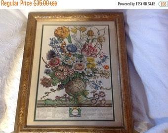 On Sale Vintage Framed Floral Print by Rob Furber Month of March