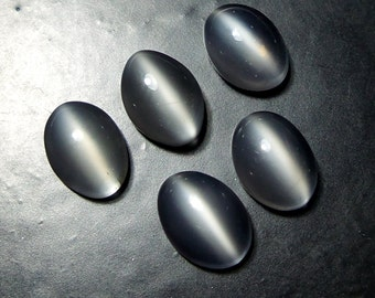 5x7 MM Natural White Moonstone Cat's Eye Oval Shape Cabochon 5 Piece Lot